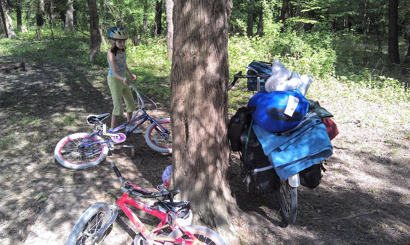 Camping pack mule with kids