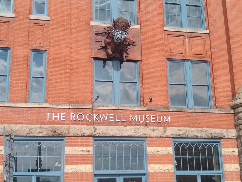 The Norman Rockwell Museum in Corning sports a buffalo head with a mask.