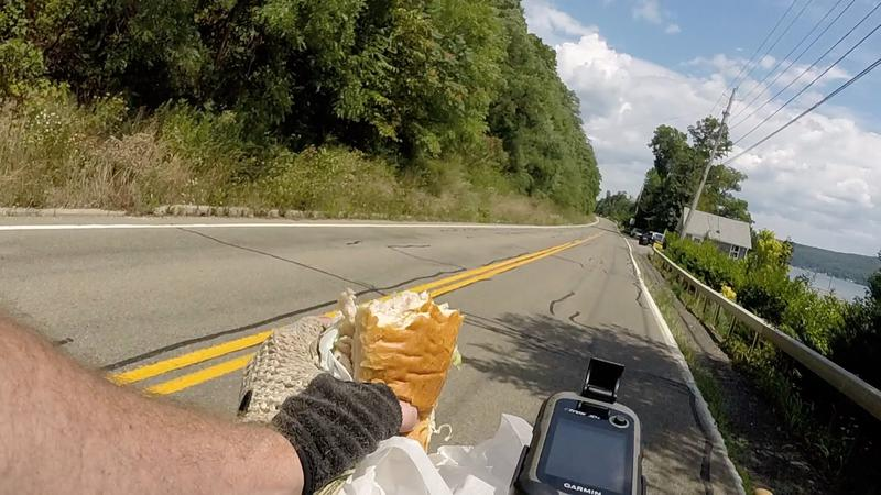 Lunch while riding along the west shore of Keuka Lake