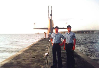 Me on USS Kentucky in 1993 off the coast of Barbados with Chris.